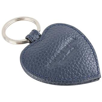Byron and Brown Roma Leather Small Heart Key Ring - Navy