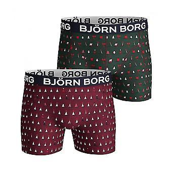 Bjorn Borg Natale confezione da 2 Boxer stampa tronchi Gift Set, Borgogna/verde
