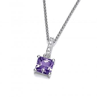 Cavendish French Delicate Square Amethyst CZ Solitaire Pendant without Chain
