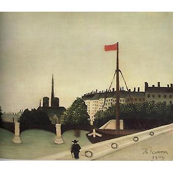 Notre-Dame nähnyt alkaen Port Henri-IV, Henri Rousseau, 60x50 cm