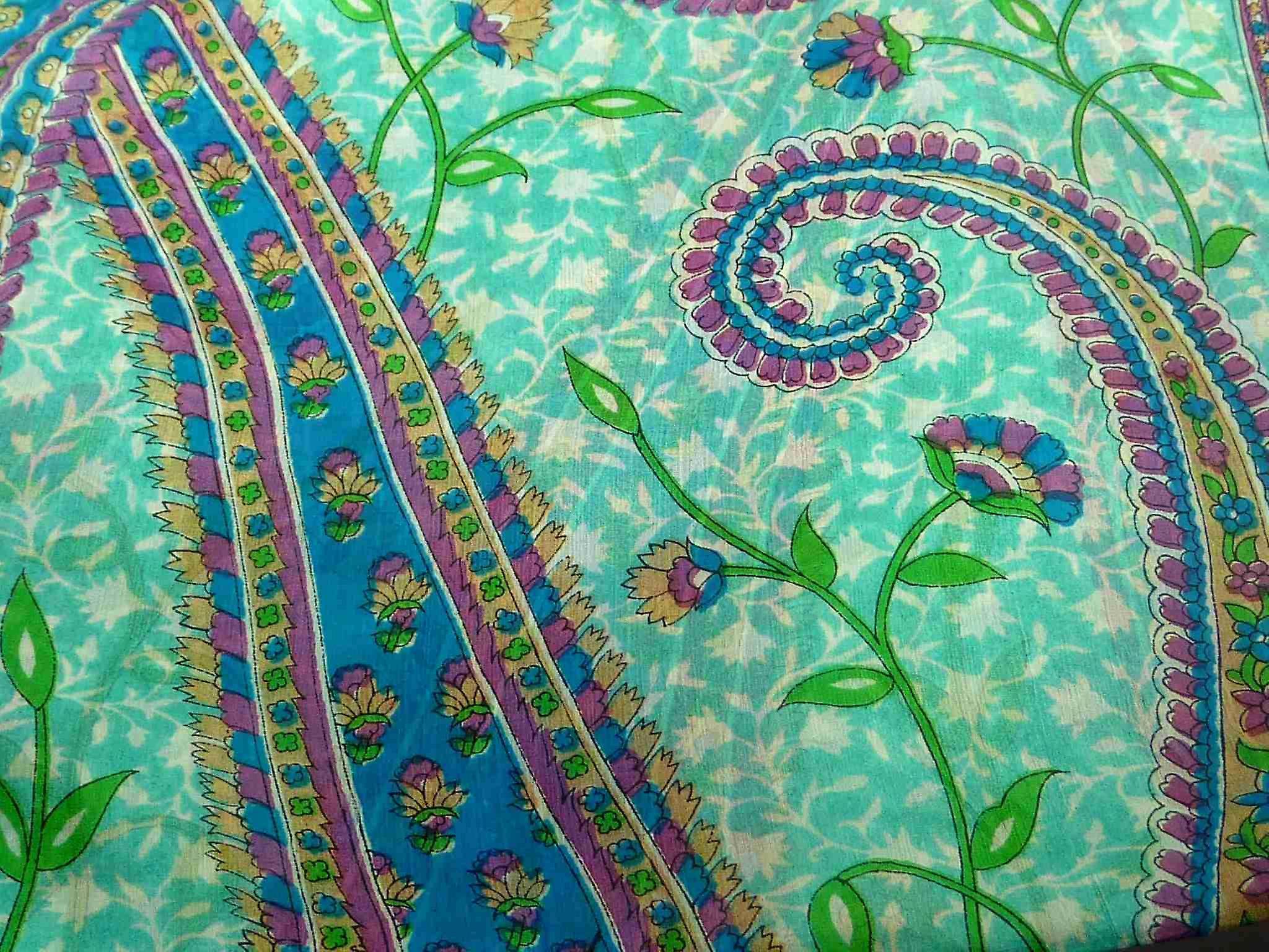 Mulberry Silk Traditional Long Scarf Sonja Aquamarine by Pashmina & Silk