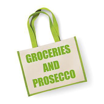 大規模なジュート袋食料品とプロセッコの緑袋