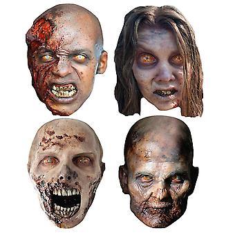 Walking Dead Zombies Party kort ansikte masker uppsättning 4
