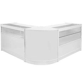 Retail Counters Shop White Display Cabinet Glass Showcase Shelves Storage Leo