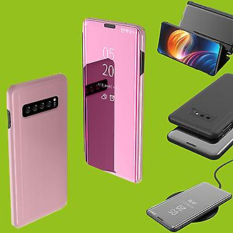 Für Samsung Galaxy S10 G973F 6.1 Zoll Clear View Spiegel Mirror Smart Cover Pink Tasche Hülle Case Wake UP