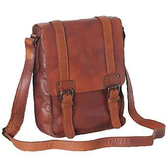 Ashwood nahka Shoreditch Vintage kastettu A4 nahka Messenger Bag-Rust Tan