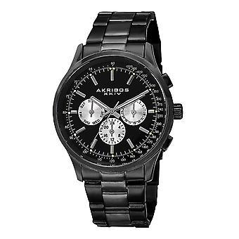 Akirbos XXIV AK788BK Suisse Quartz double temps tachymètre en acier inoxydable noir bracelet montre