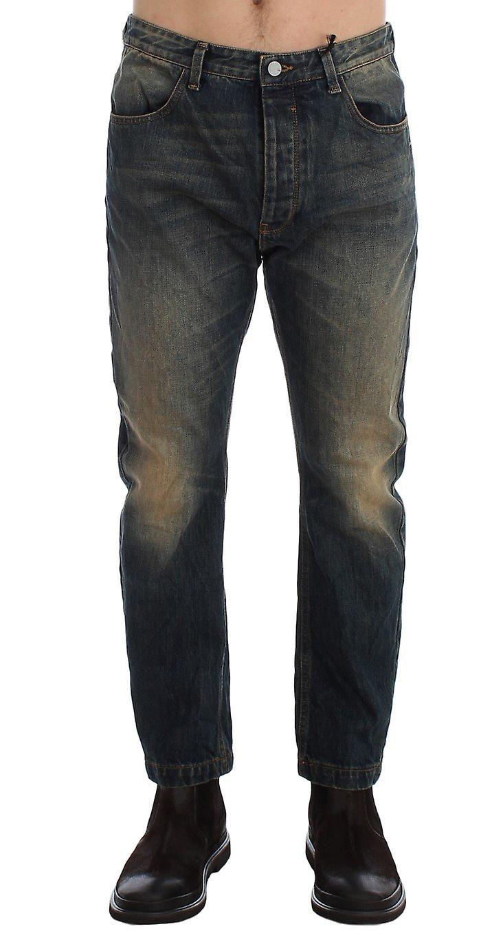 Blue wash chinos 50s fit cotton jeans