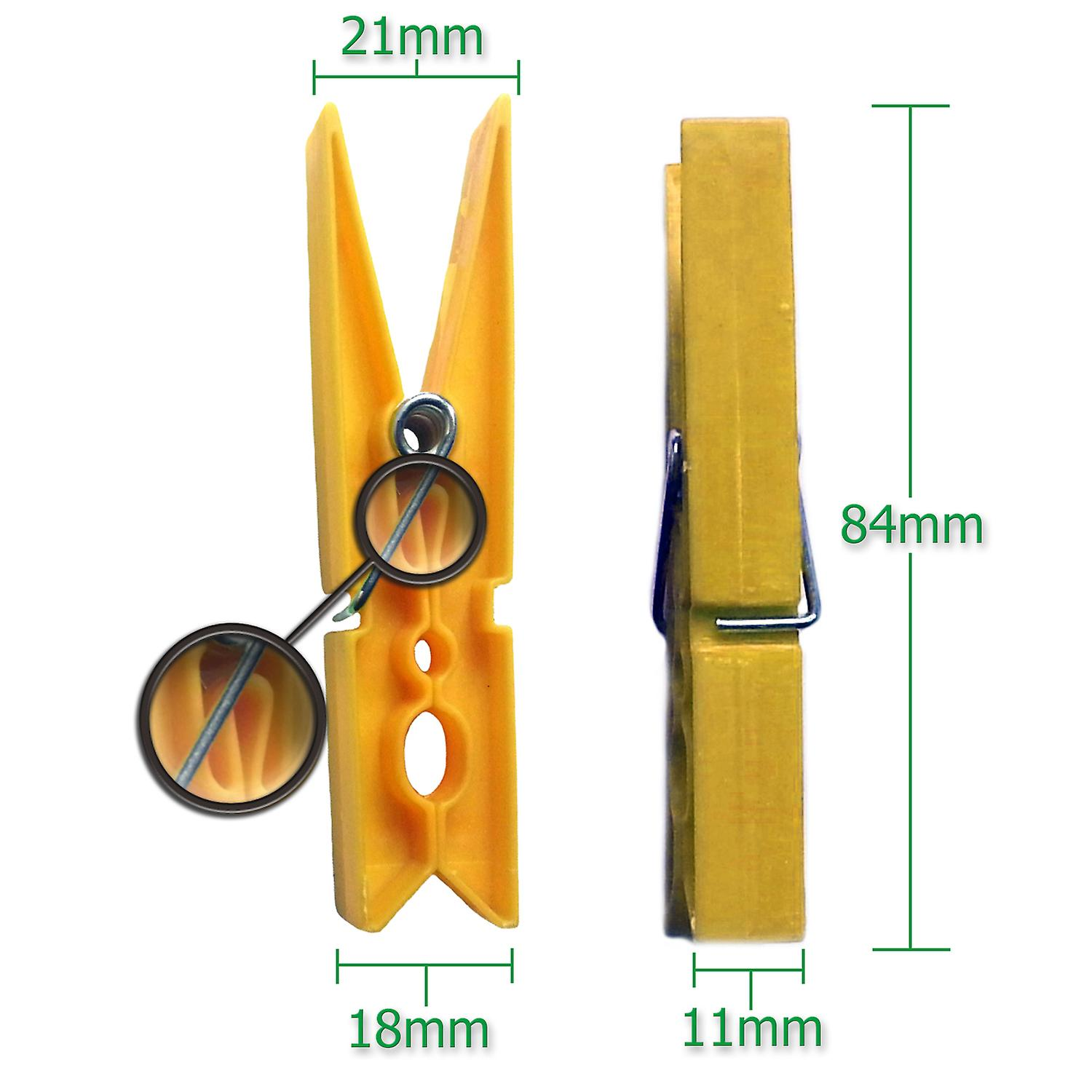 Simply Direct Yellow Strong Big Robust Plastic Clothes Washing Line Pegs/Clips - 8.5cm Long - Also Useful for Arts and Crafts