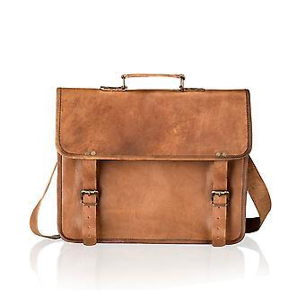 Vintage tan Satchel maletín Plain Front 14,5