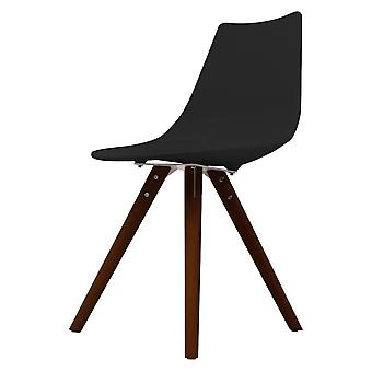Fusion Living Iconic Black Plastic Dining Chair With Dark Wood Legs