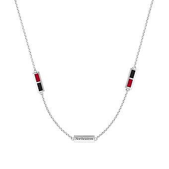 Northeastern University Sterling Silver Engraved Triple Station Necklace In Red & Black