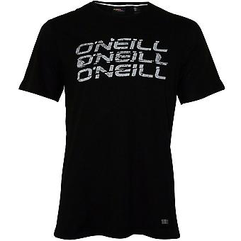 O'Neill Triple Logo Rundhals-T-Shirt, Black Out