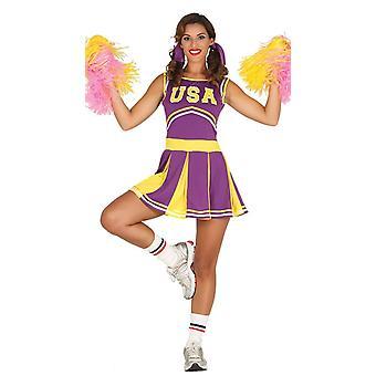 Womens lilla USA Cheerleader Fancy kjole kostyme