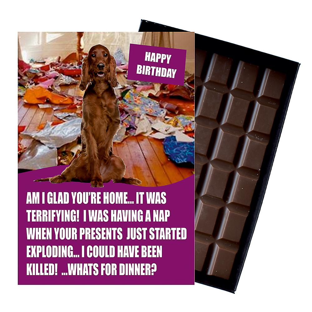 Irish Red Setter Funny Birthday Gifts For Dog Lover Boxed Chocolate Greeting Card Present