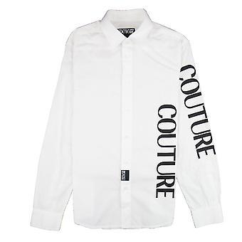 Versace Jeans Couture Etichetta Detail Cotton Long Sleeve Shirt White