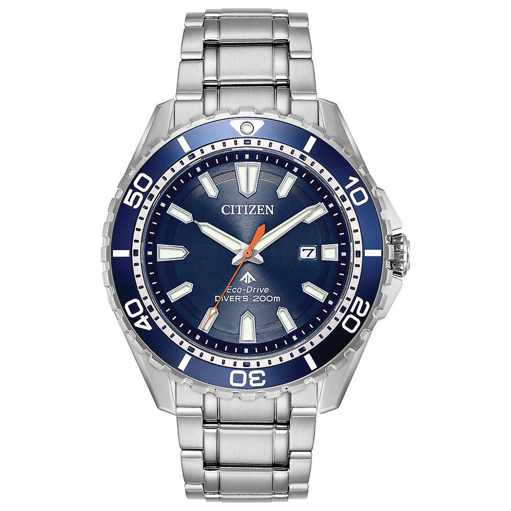 Citizen Mens Eco Drive Round Blue Divers 200m Stainless Steel Bracelet Watch