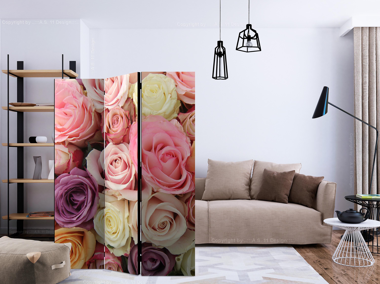 Paravent 3 volets - Pastel roses [Room Dividers]