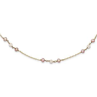 14k F.w. Cultured F.w. Cultured Pearl and Rose Quartz With Cable Chain Necklace 1 In Ext 14 Inch