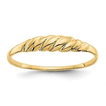 14k ouro amarelo polido de volta Sparkle Cut Textured Ridged Dome Ring Jewely Gifts for Women