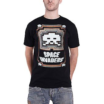 Space Invaders T Shirt Glowing Invader logo new Official retro gamer Mens Black