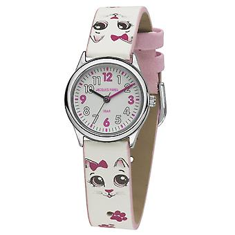 JACQUES FAREL Kids Wristwatch Analog Quartz Girl Faux Leather HCC 561 Cat