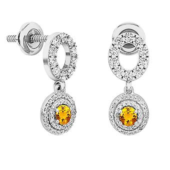 Dazzlingrock Collection 10K 4 MM Each Round Citrine & Diamond Women's Double Halo Dangling Drop Earrings, White Gold