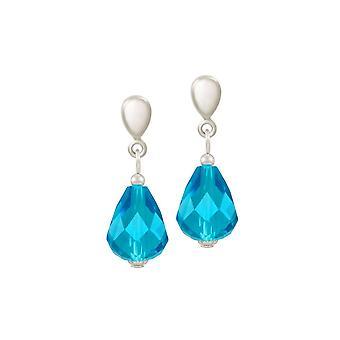 Eeuwige collectie verfijning Turquoise Crystal zilveren Toon drop schroef terug clip op oorbellen