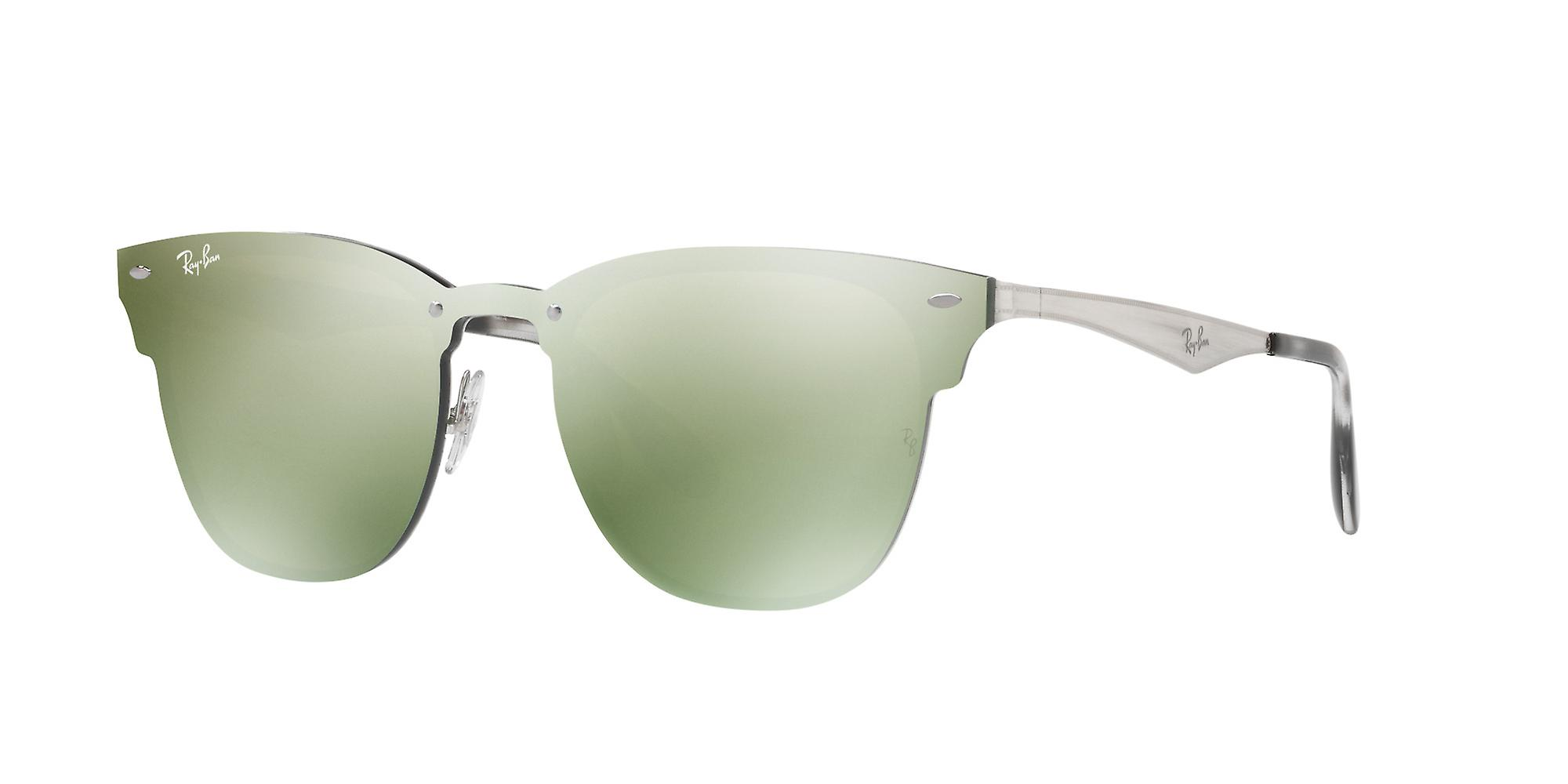 Ray-Ban Blaze Clubmaster RB3576N 042/30 Silver/Green-Silver Mirror Sunglasses