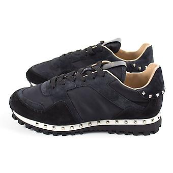 Valentino Rockrunner Studded Sole Trainers Black 0GE