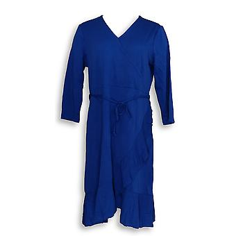Isaac Mizrahi Live! Kjole 3/4-ermet ruffle hem strikk blå A353284