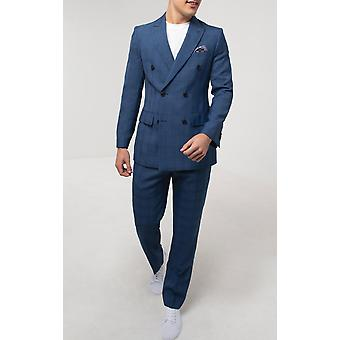 Dobell Mens Blue Check 2 Piece Suit Regular Fit Double Breasted Peak Lapel