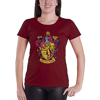 Harry Potter T Shirt Gryffindor crest new Official Womens Skinny Fit Red