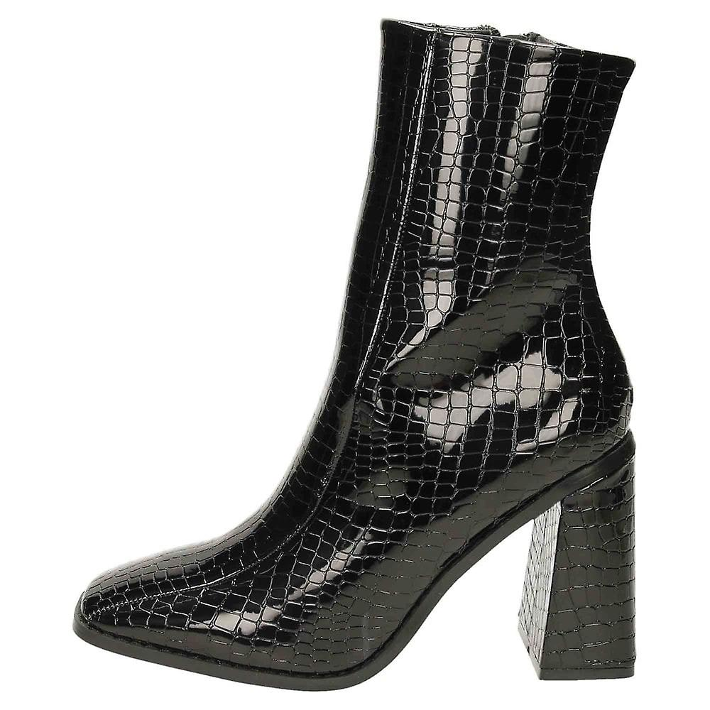Koi Footwear Patent Croc High Chunky Heel Square Toe Ankle Boots