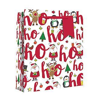 Eurowrap Christmas Double Bottle Gift Bags with Ho ho ho Design (Pack of 12)