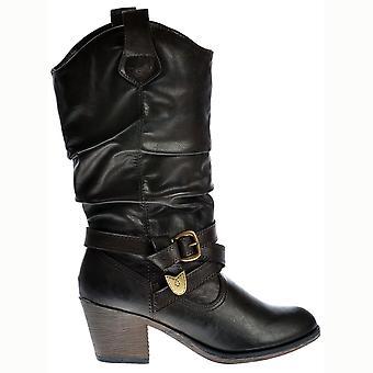 Rocket Dog Sidestep Slick Pu Cowboy Western Boots - Espressobrown