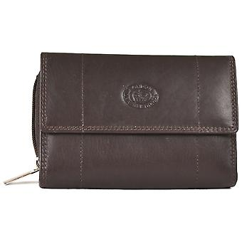 Nappa Leather Zip-Around Purse - Dark Brown