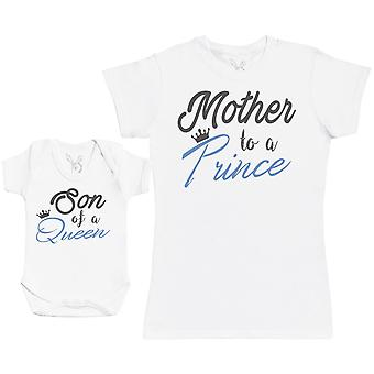 Son Of A Queen, Mother To A Prince - Baby Gift Set with Baby Bodysuit & Mother's T-Shirt