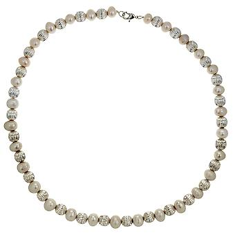 TOC Baroque Synthetic White Pearl & Silvertone Bead Ball Halskette 18