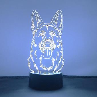 Owczarek niemiecki pies głowy światło LED akrylowe