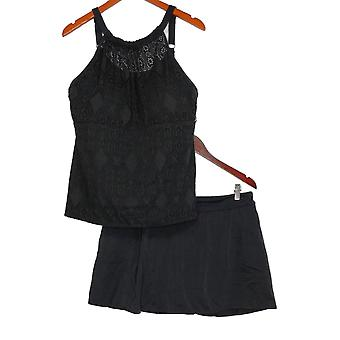 Denim & Co. Plus Swimsuit Lace High Neck Tankini With Skirt Black A350350