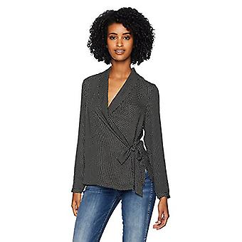 Adrianna Papell Women's Long Sleeve WRAP Front Georgette, Black, Size Small