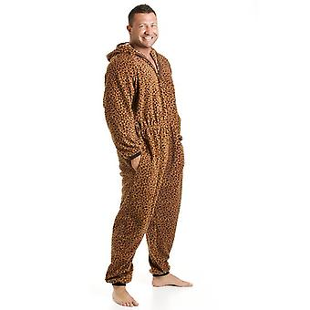 Camille Classic Mens All In One Caramel Leopard Print Fleece Hooded Pyjama Onesie Size S-5XL