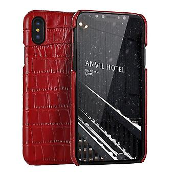 For iPhone XS MAX Cover,Genuine Crocodile Leather Back Shell Phone Case,Red