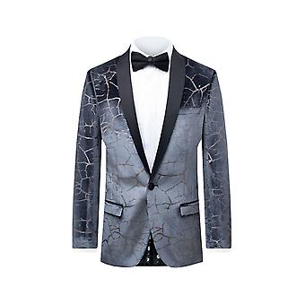 Twisted Tailor Mens Grey Tuxedo Jacket Skinny Fit Cracked Foil Pattern