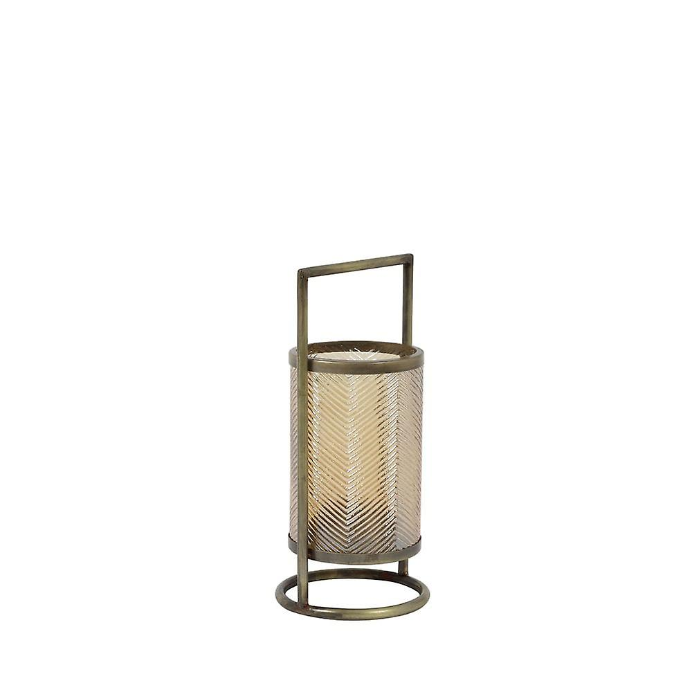 Lys & Levende Hurricane 14x32cm Thilo Glass Gull Glans Og Antikk Bronse