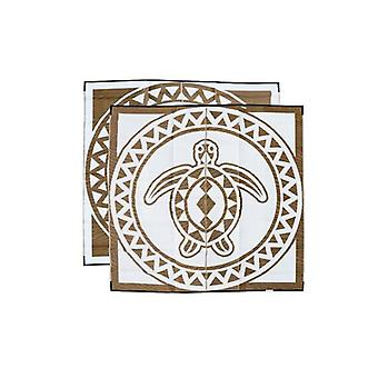 Turtle Circle Aboriginal Design Recycled Mat Bronze And White
