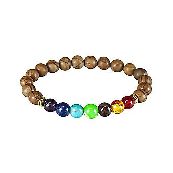 Chakra bracelet with wood-inspired beads