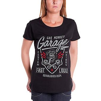Gas Monkey Garage T Shirt Fast n Loud Logo Official Womens New Black Skinny Fit
