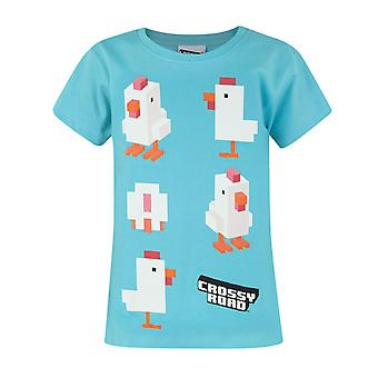Crossy Road Chicken Blue Girl's T-Shirt